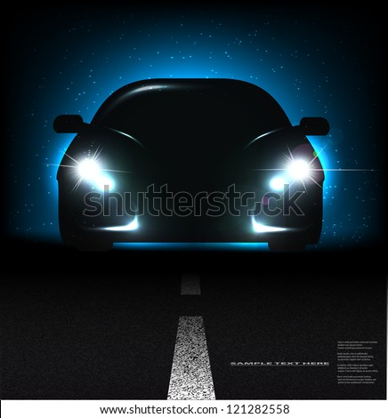 Silhouette of car with headlights on asphalt dark background. - stock vector