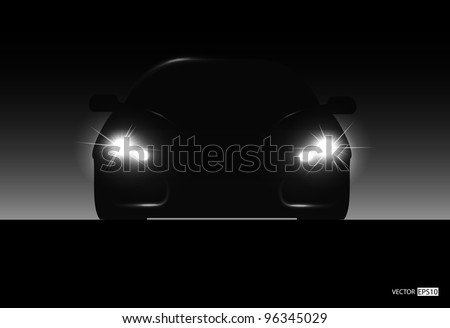 Silhouette of car with headlights on black background. Vector illustration - stock vector