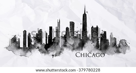 Silhouette of Chicago city painted with splashes of ink drops streaks landmarks drawing in black ink on crumpled paper - stock vector