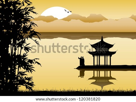Silhouette of Chinese pavilion and a couple at sunset - stock vector