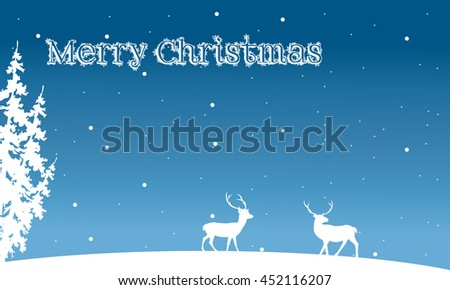 Silhouette of Christmas deer and spruce winter illustration