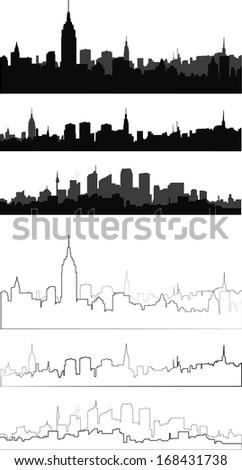 silhouette of city in 6 interpretation - stock vector
