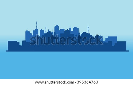 Silhouette of city on the islands - stock vector
