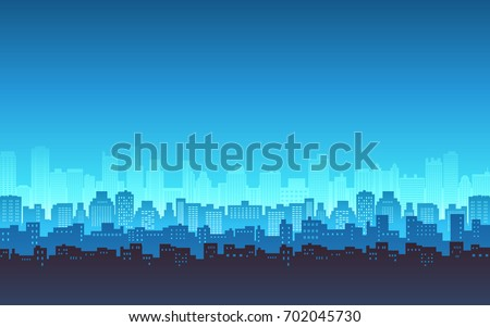 silhouette of city skyline, Cityscape in blue color background