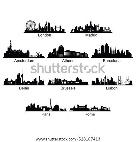 Silhouette of City Skyline Landscape of European Country
