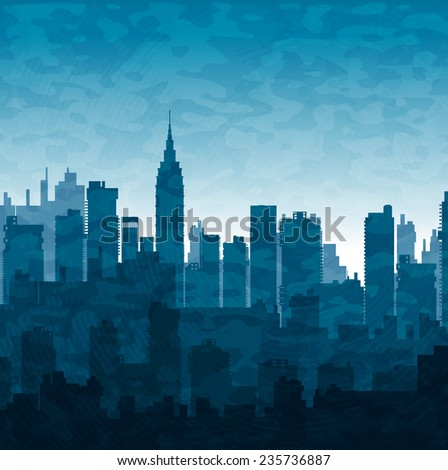 Silhouette of city skyscrapers buildings in blue tones