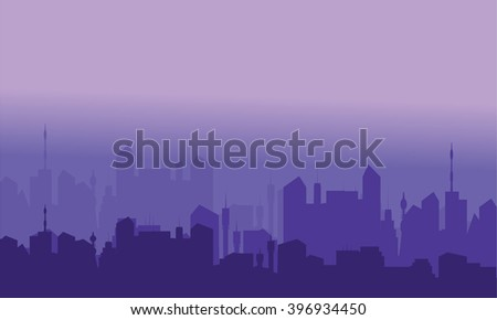 Silhouette of city with purple color