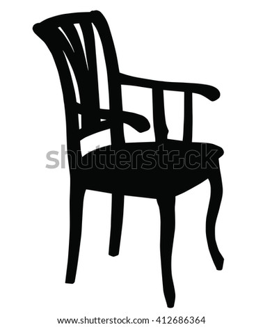 Silhouette of classic retro chair. Vector illustration