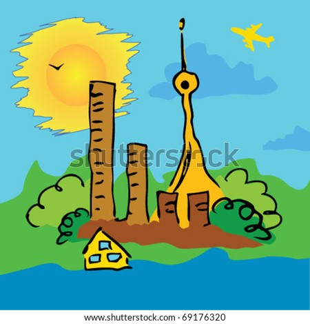 Silhouette of colorful city.  Vector illustration art.