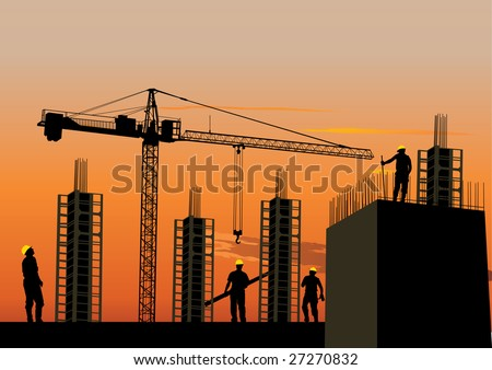 Silhouette of construction site with workers and scaffolding at sunset sky - stock vector
