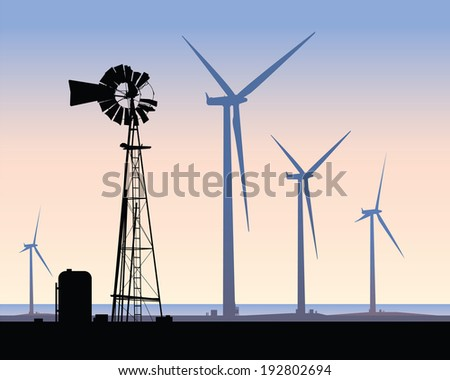 Silhouette of contrasting energy sources: an old windmill and modern wind turbines. - stock vector