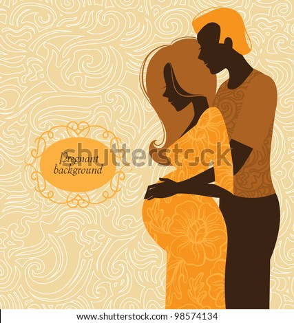 Silhouette of couple. Background of pregnant woman and her husband - stock vector