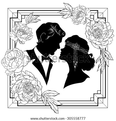 Silhouette of couple in love. Art-deco style frame with peony flowers. Vector illustration.