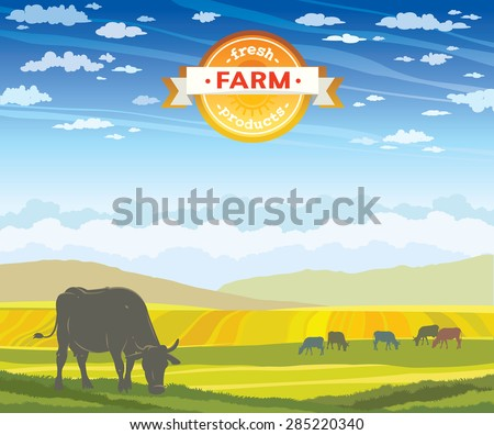 Silhouette of cow and rural landscape on a cloudy blue sky. Vector of fresh farm products. - stock vector