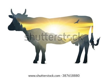 Silhouette of cow with mountains panorama. Colorful sunset in wild valley. Eps 10.