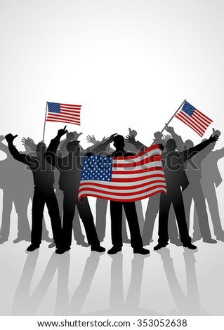 Silhouette of crowd of people cheering while holding the flag of America - stock vector