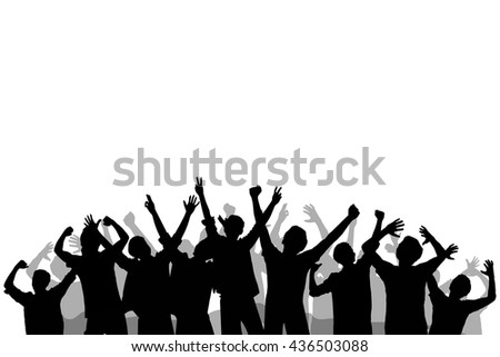 Silhouette of crowd people cheering and excited.  - stock vector