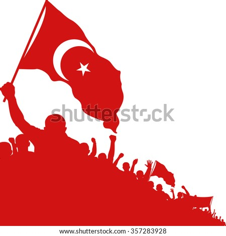 silhouette of crowd with islamic symbol on flag - stock vector