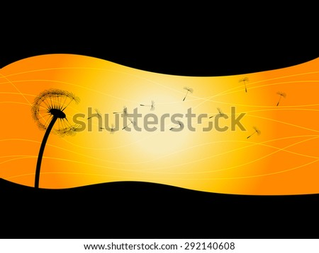 Silhouette of dandelion with abstract black waves - stock vector