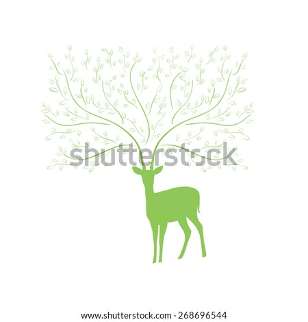 Silhouette of deer with tree branch horns. Vector illustration. - stock vector
