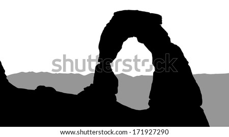 Silhouette of Delicate Arch with mountains in the background - stock vector