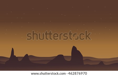 Silhouette of desert and rock scenery on brown backgrounds