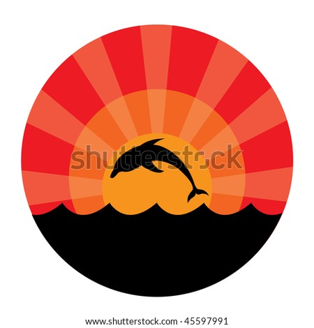 Silhouette of dolphins at sunset. Vector illustration - stock vector