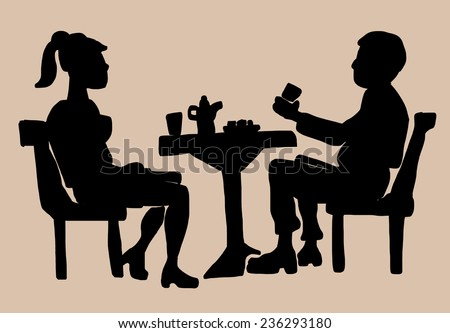 Silhouette of drinking coffee couple sitting by table - stock vector