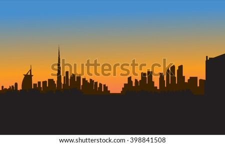 silhouette of dubai city at the sunset