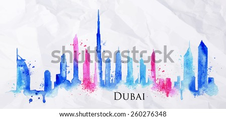 Silhouette of Dubai city painted with splashes of watercolor drops streaks landmarks in blue with pink - stock vector