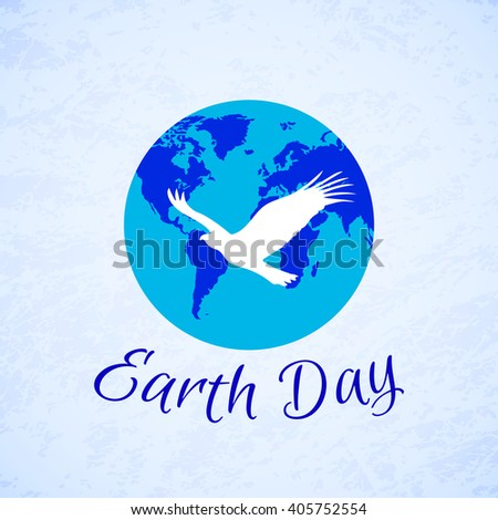 Silhouette of eagle over planet Earth. Earth Day - stock vector