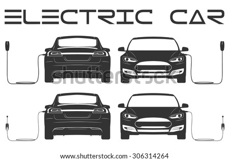 Silhouette Electric Car Outline Stock Vector Shutterstock