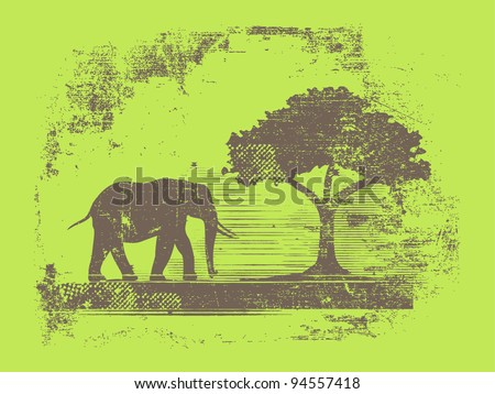 silhouette of elephant and tree - stock vector