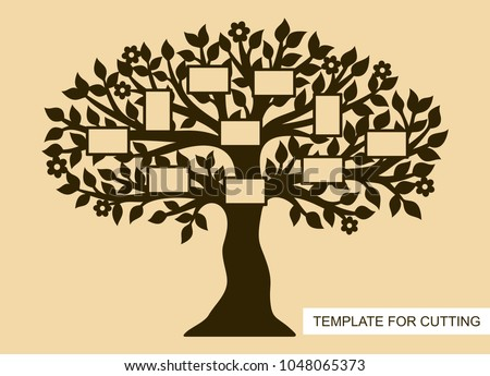 Silhouette Family Tree Photo Frames Template Stock Vector 2018