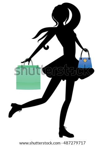 Silhouette of fashion girl in casual outfit with shopping bags.
