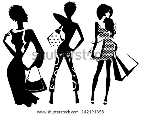 silhouette of fashion girl with bags - stock vector