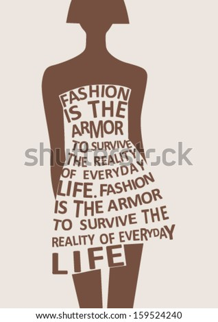 Silhouette of fashion  woman in dress from words. Vector - stock vector