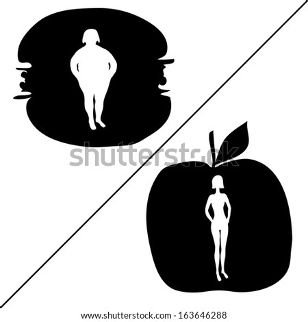 Silhouette of fat and slim women - stock vector