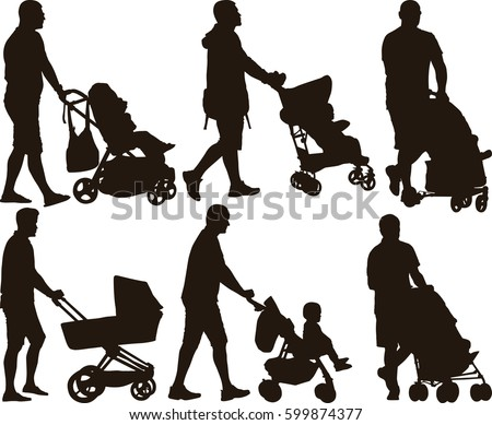 silhouette of father with baby stroller