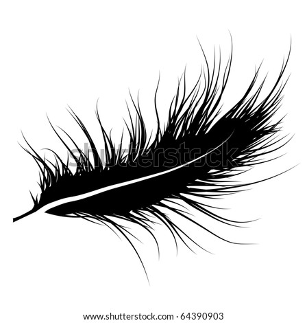 Silhouette of feather - stock vector