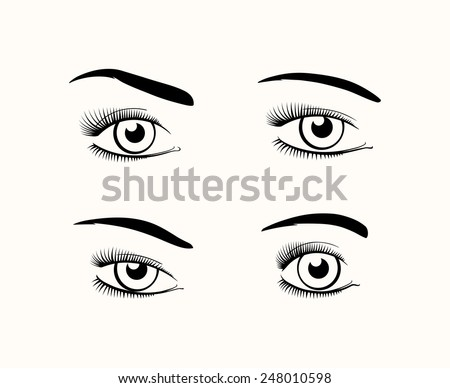 Silhouette of female eyes open, different shapes with different eyelashes and eyebrows. Vector illustration - stock vector