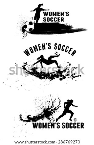 Silhouette of female soccer players on splash stains background - stock vector