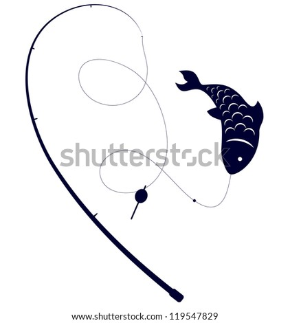 silhouette fishing rods fish on hook stock vector 119547829, Fishing Rod