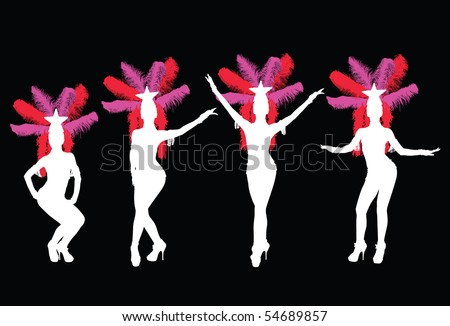 Silhouette of four showgirls - stock vector