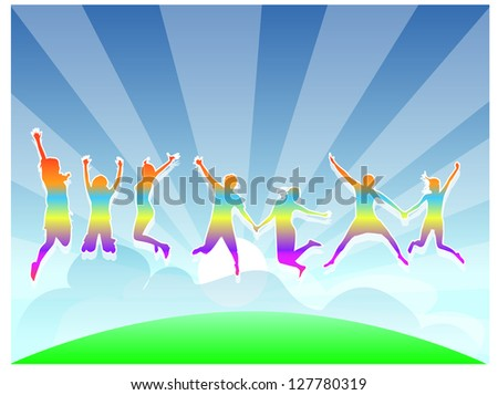 silhouette of friends jumping - vector