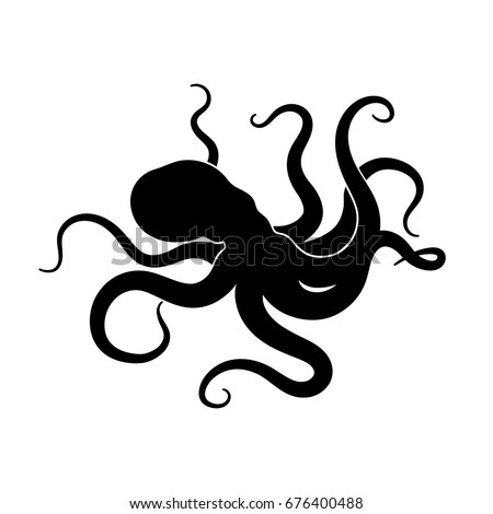 Giant Red Octopus On White Background Stock Vector