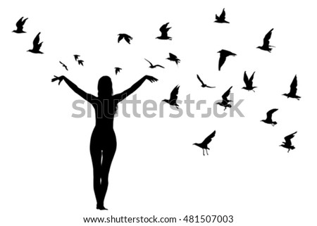 Silhouette of girl and birds; learning to fly abstract concept