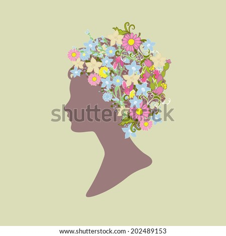 Silhouette of girl with flowers