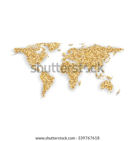 Silhouette of golden world map with shadow, vector illustration. - stock vector