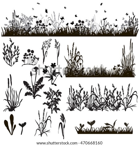 silhouette of grass and plants, in isolation,vector, isolated,butterfly and dove, with butterflies